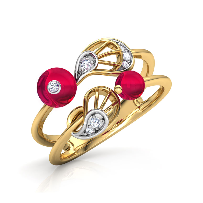 Diamond,Gemstone Rings 18 Karat Rose Gold Ornate Paisley Diamond Ring