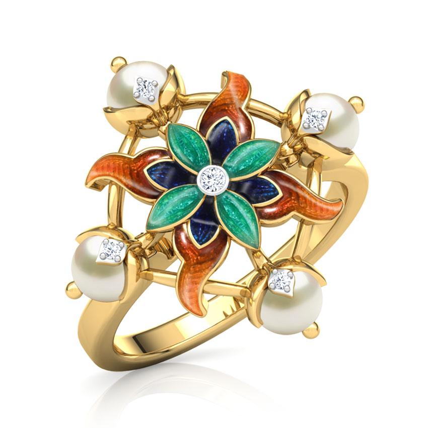 Diamond,Gemstone Rings 18 Karat Yellow Gold Fiza Lily Diamond Ring