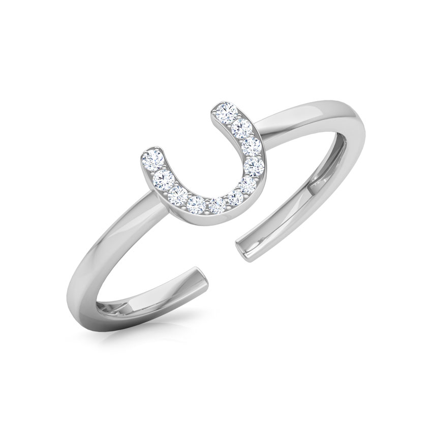 Diamond Rings 18 Karat White Gold Horseshoe Diamond Midi Ring