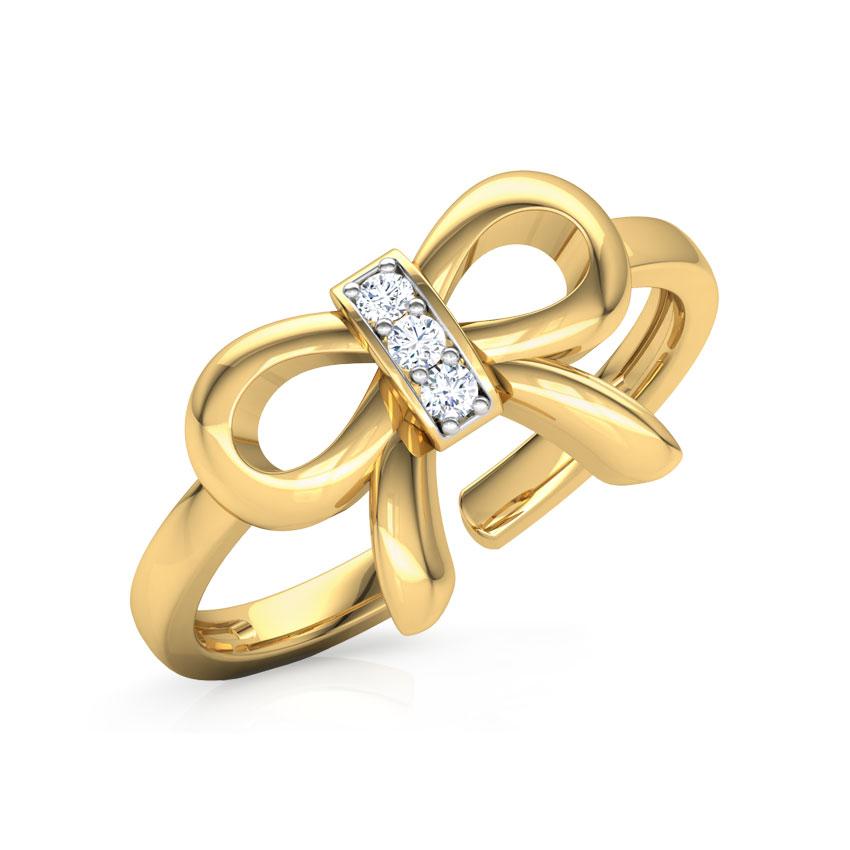 Diamond Rings 14 Karat Yellow Gold Lucid Bow Diamond Midi Ring