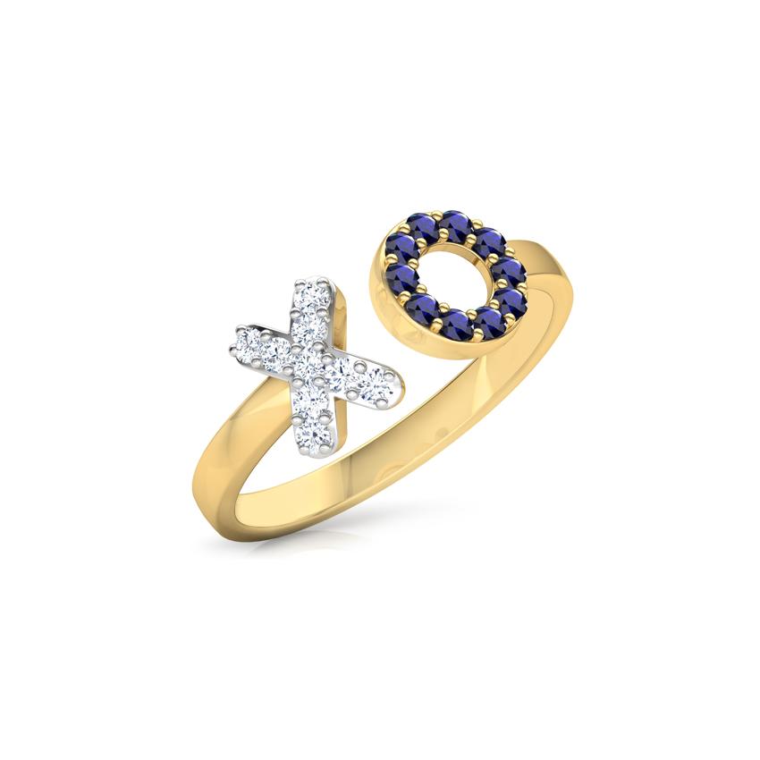 Diamond,Gemstone Rings 18 Karat Yellow Gold XO Diamond Midi Ring