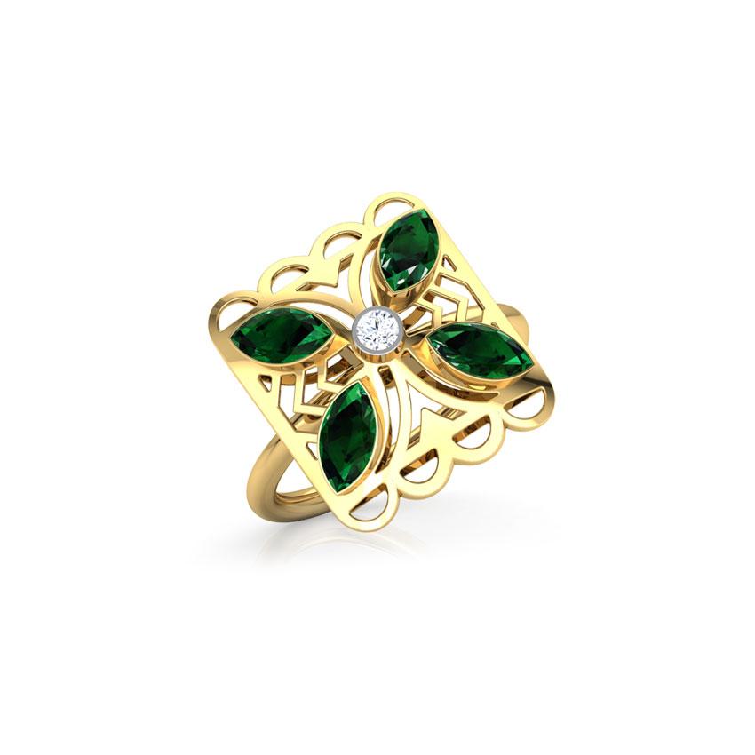 Diamond,Gemstone Rings 18 Karat Yellow Gold Kusum Intricate Diamond Ring
