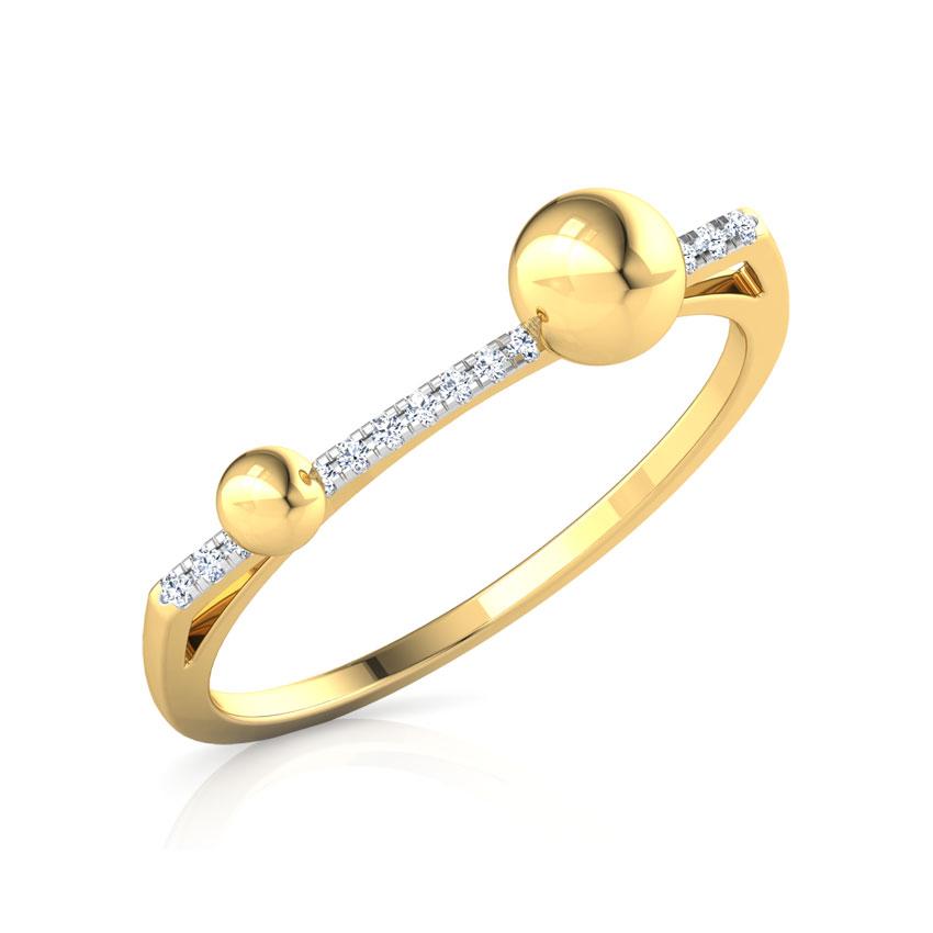 Diamond Rings 14 Karat Yellow Gold Drops Linear Diamond Ring