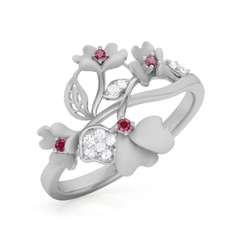 Diamond,Gemstone Rings 14 Karat White Gold Primrose Bloom Diamond Ring