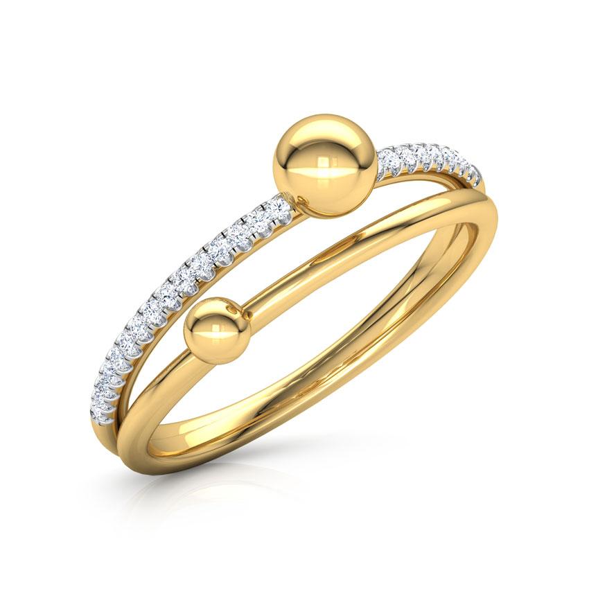 Diamond Rings 14 Karat Yellow Gold Dewdrops Linear Diamond Ring