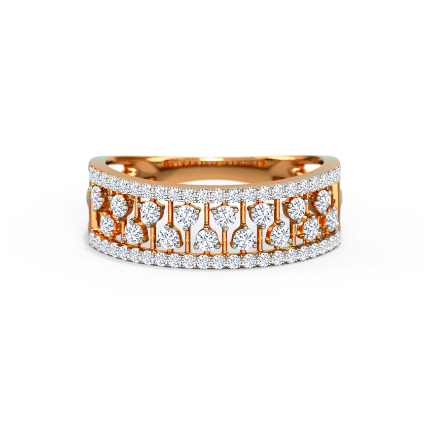 Diamond Rings 18 Karat Rose Gold Linear Diamond Band