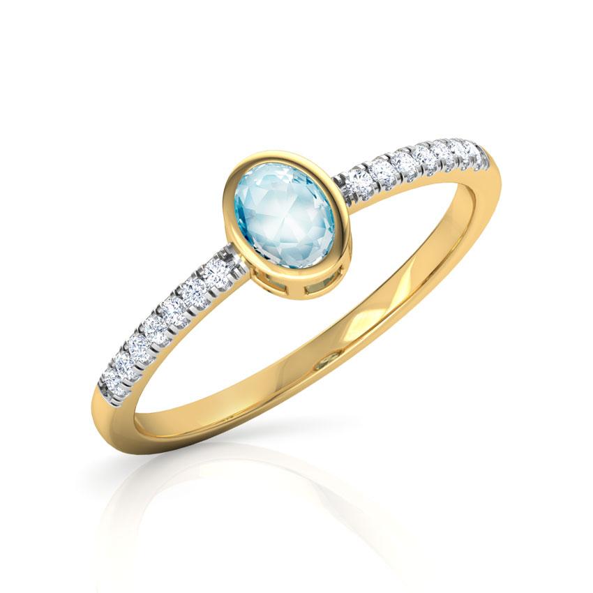 Diamond,Gemstone Rings 14 Karat Yellow Gold Topaz Ovate Diamond Ring