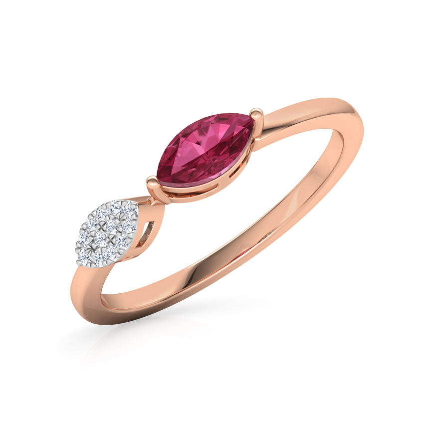 Diamond,Gemstone Rings 14 Karat Rose Gold Tourmaline Classic Diamond Ring