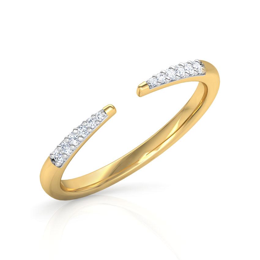 Diamond Rings 14 Karat Yellow Gold Slender Stackable Diamond Ring