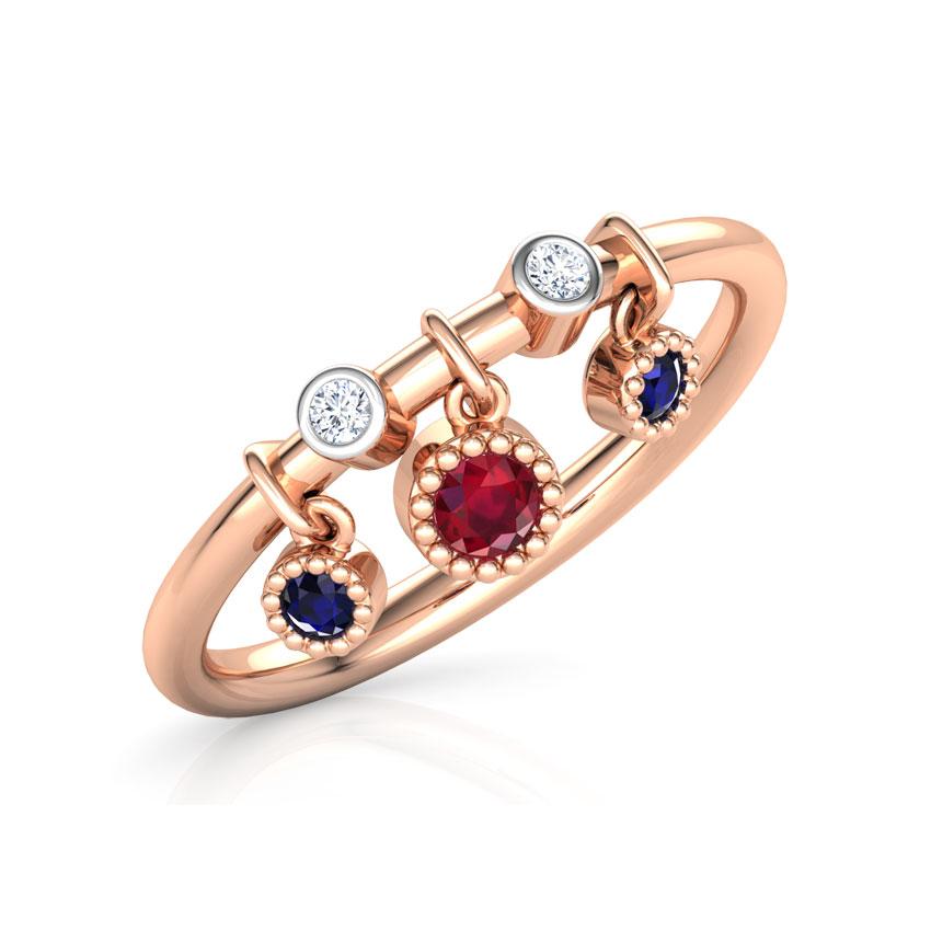 Diamond,Gemstone Rings 14 Karat Rose Gold Dangling Stackable Diamond Ring