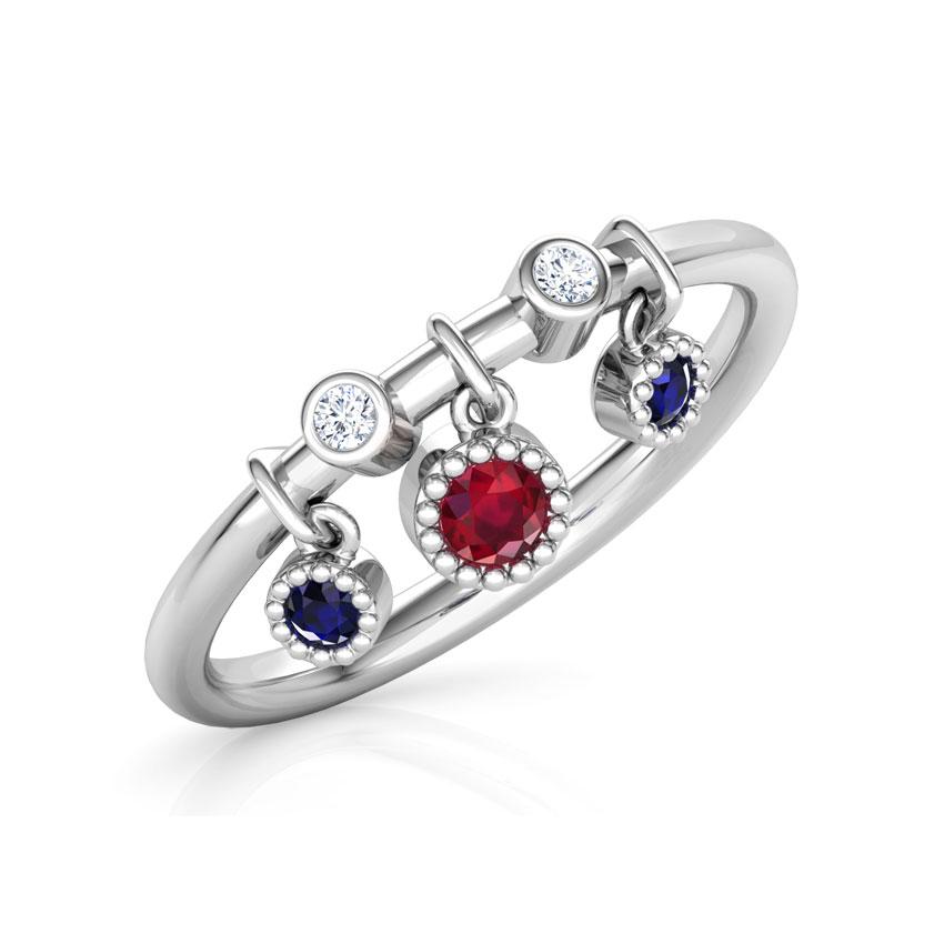 Diamond,Gemstone Rings 18 Karat White Gold Dangling Stackable Diamond Ring
