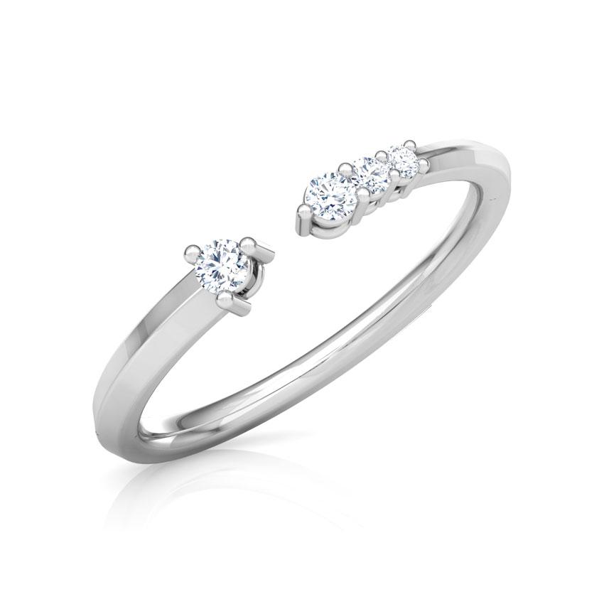 Diamond Rings 18 Karat White Gold Linear Stackable Diamond Ring