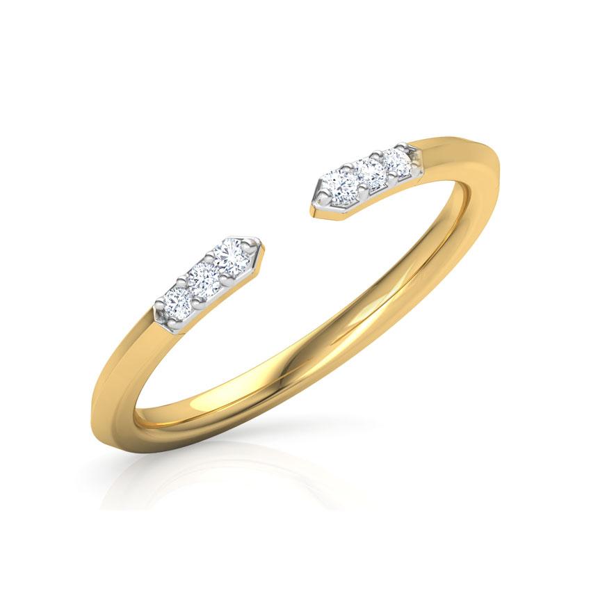 Diamond Rings 14 Karat Yellow Gold Edgy Stackable Diamond Ring