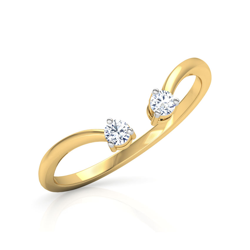 Diamond Rings 14 Karat Yellow Gold Arc Stackable Diamond Ring