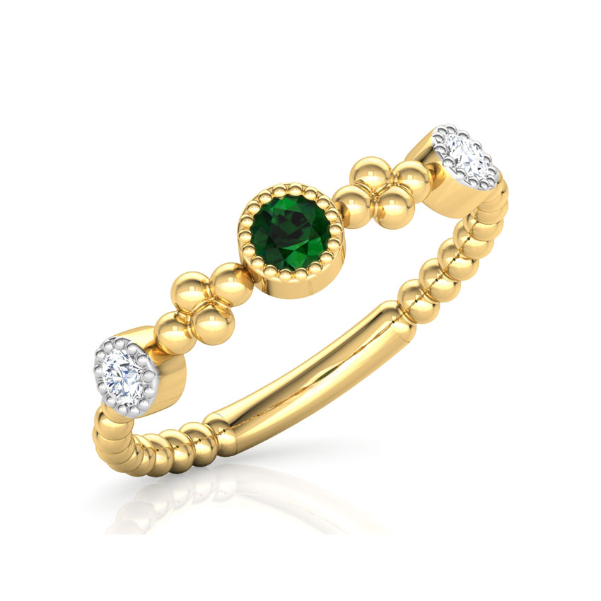 Diamond,Gemstone Rings 18 Karat Yellow Gold Droplets Stackable Diamond Ring