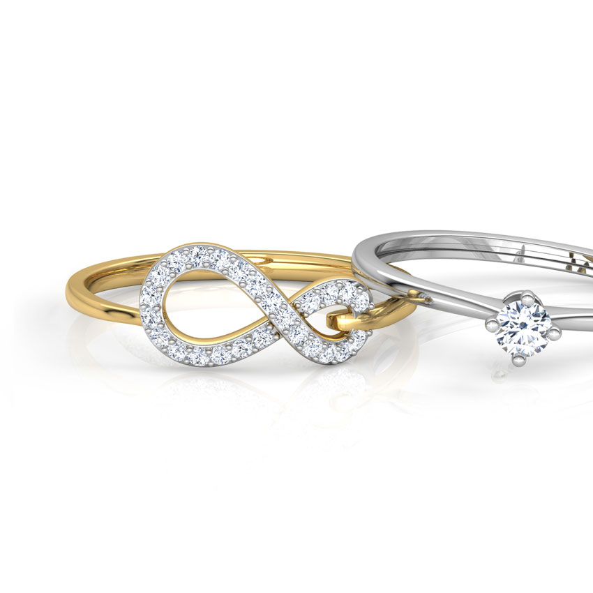 Diamond Rings 18 Karat Two Tone Gold Infinity Twin Diamond Rings