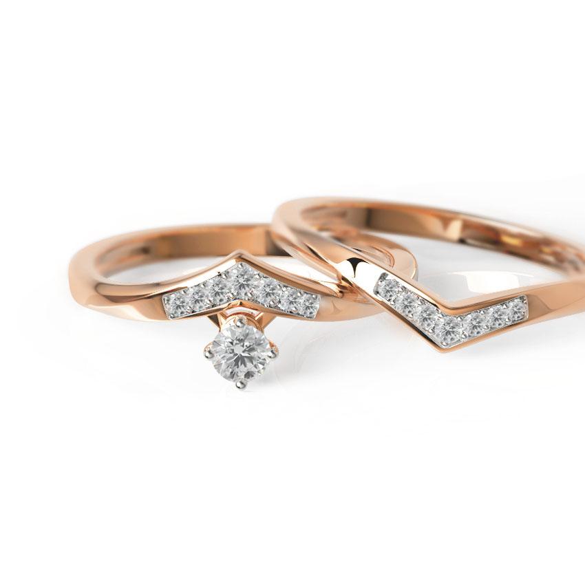 Diamond Rings 18 Karat Rose Gold Edgy Twin Diamond Rings