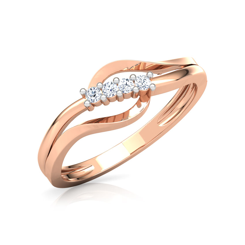 Diamond Rings 14 Karat Rose Gold Lisa Glitter Diamond Ring