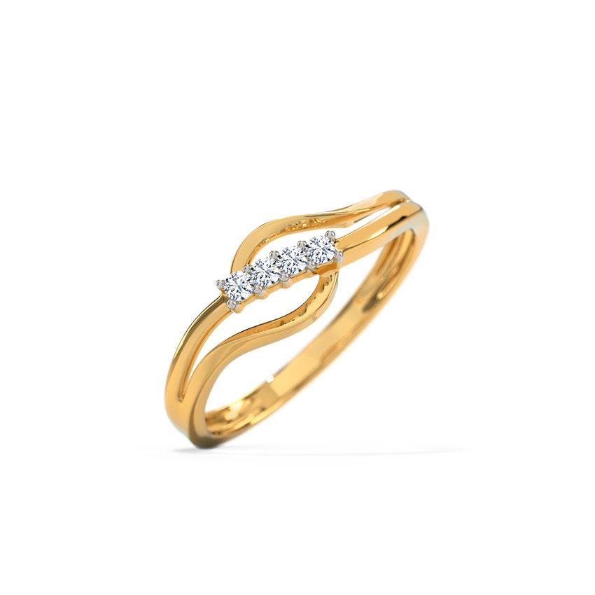 Diamond Rings 18 Karat Yellow Gold Lisa Glitter Diamond Ring