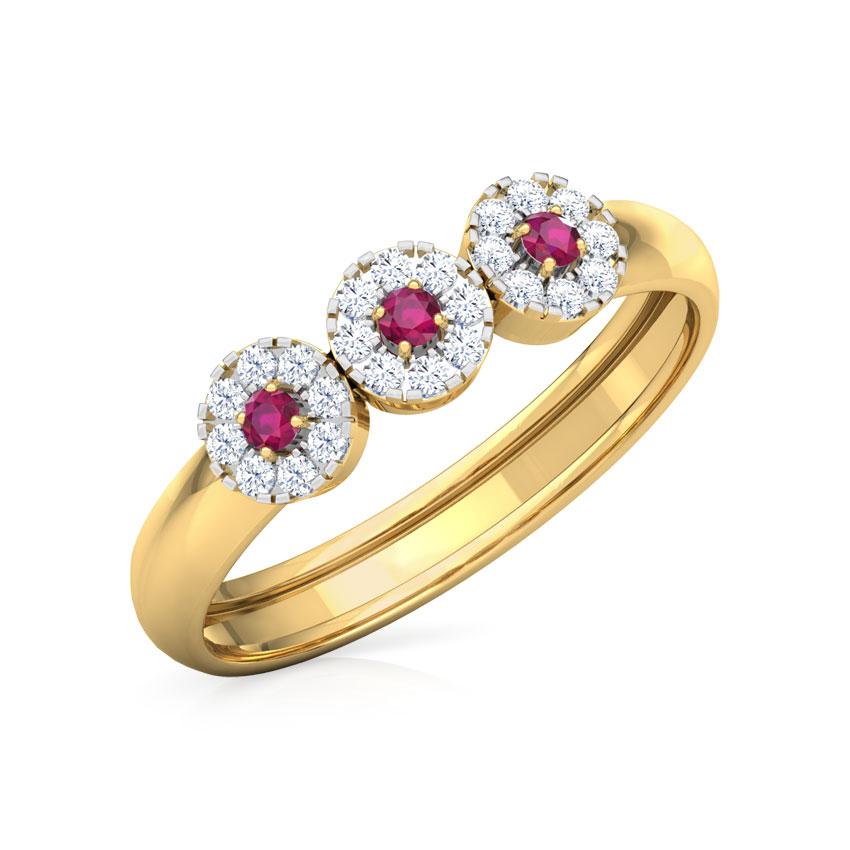 Diamond,Gemstone Rings 18 Karat Yellow Gold Trio Halo Diamond Band
