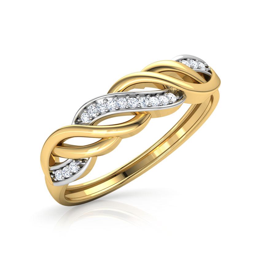 Diamond Rings 18 Karat Yellow Gold Wave Diamond Band
