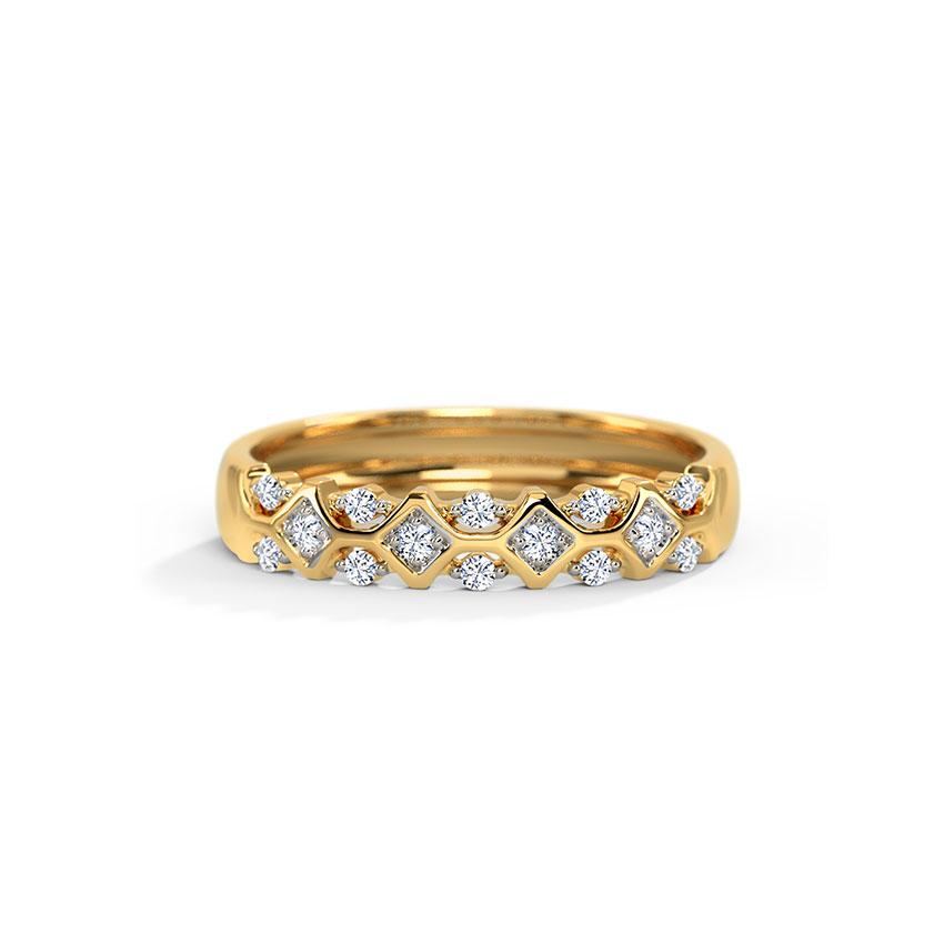 Diamond Rings 18 Karat Yellow Gold Ornate Diamond Band