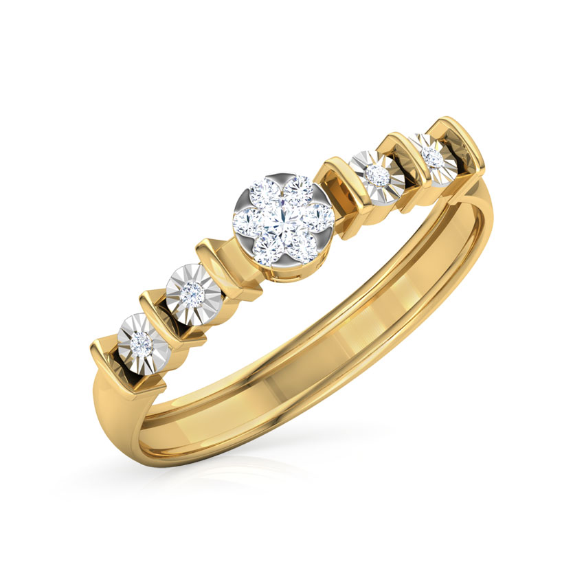 Diamond Rings 18 Karat Yellow Gold Quintet Miracle Plate Diamond Band