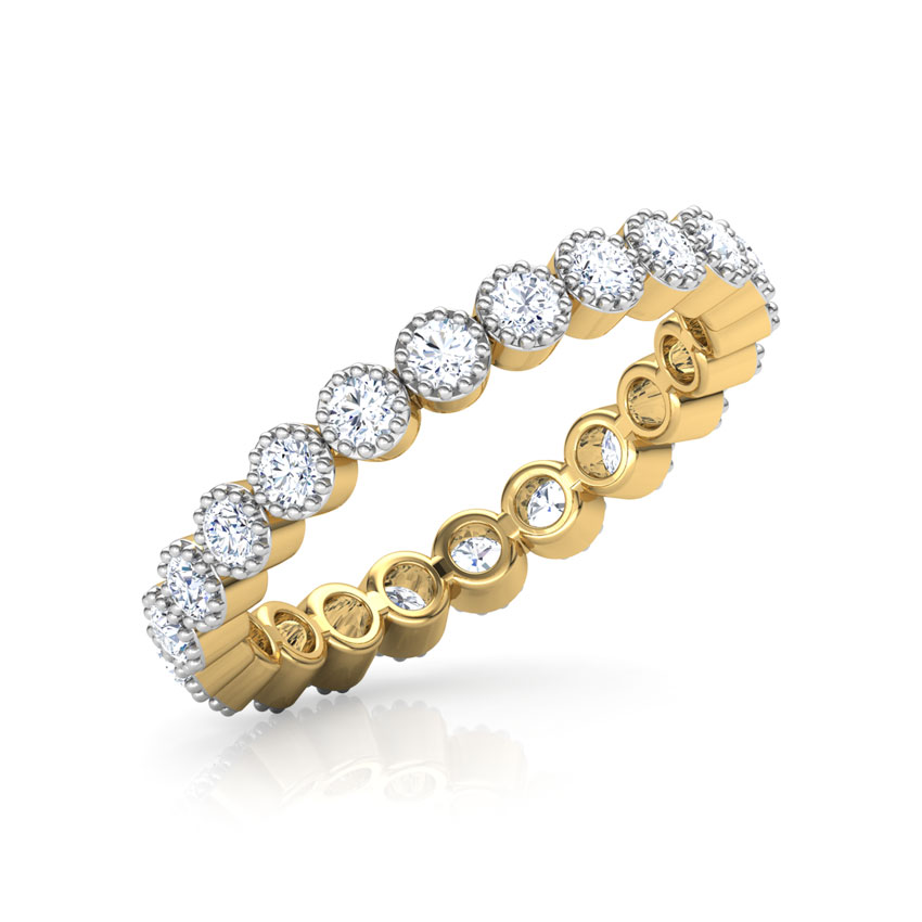 Diamond Rings 18 Karat Yellow Gold Dew Eternity Diamond Ring