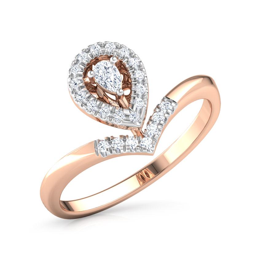 Diamond Rings 14 Karat Rose Gold Glowing Drop Promise Diamond Ring