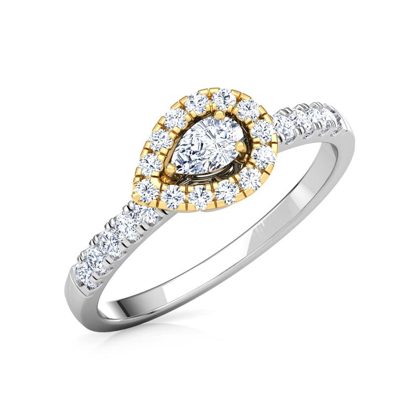 Diamond Rings 18 Karat Two Tone Gold Glittering Promise Diamond Ring