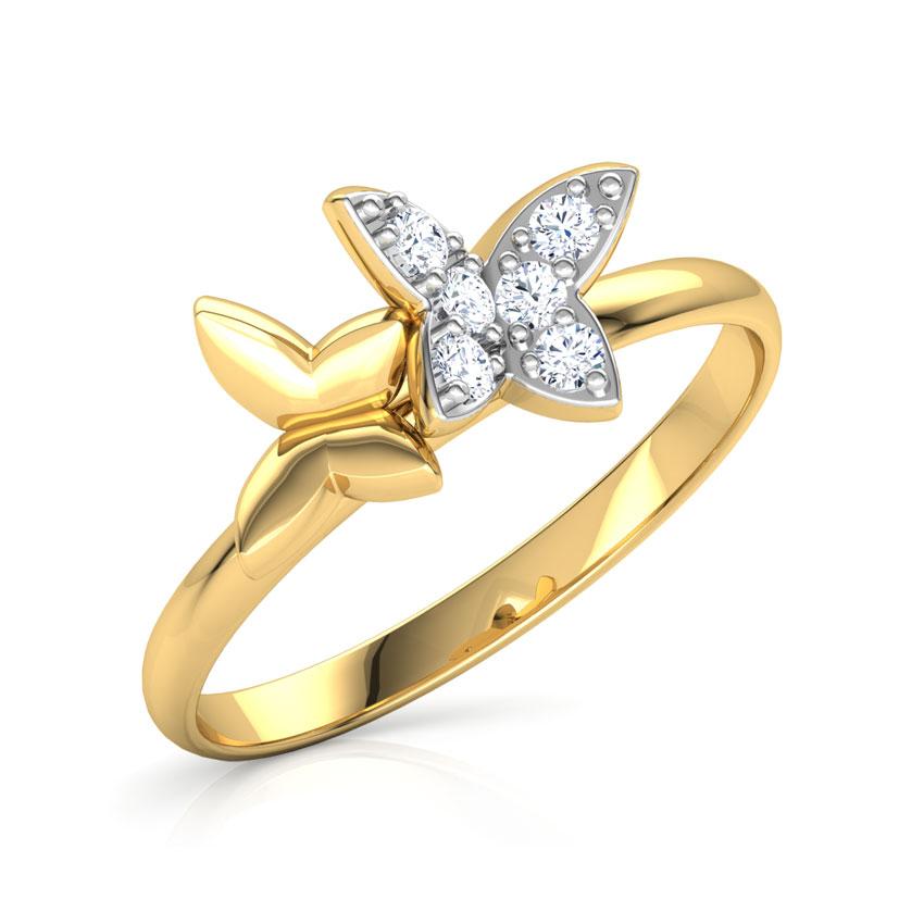 Diamond Rings 14 Karat Yellow Gold Trendy Duo Butterfly Diamond Ring