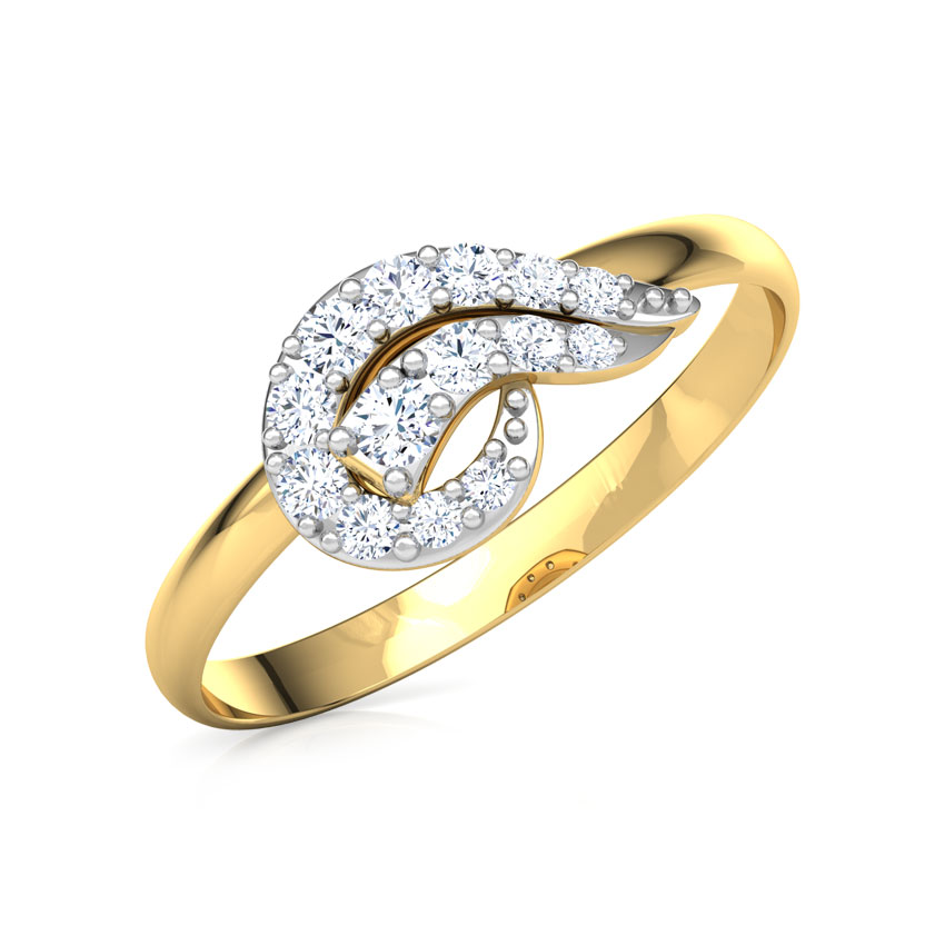 Diamond Rings 14 Karat Yellow Gold Modern Swerve Diamond Ring