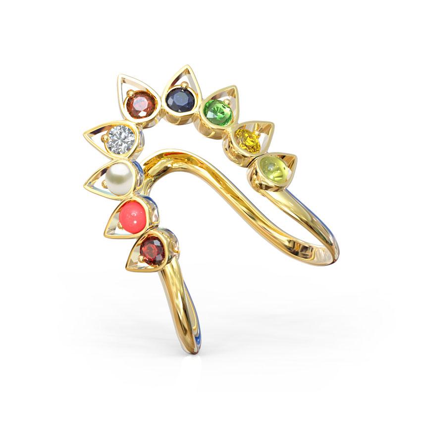 Diamond,Gemstone Rings 14 Karat Rose Gold V Navratna Diamond Ring