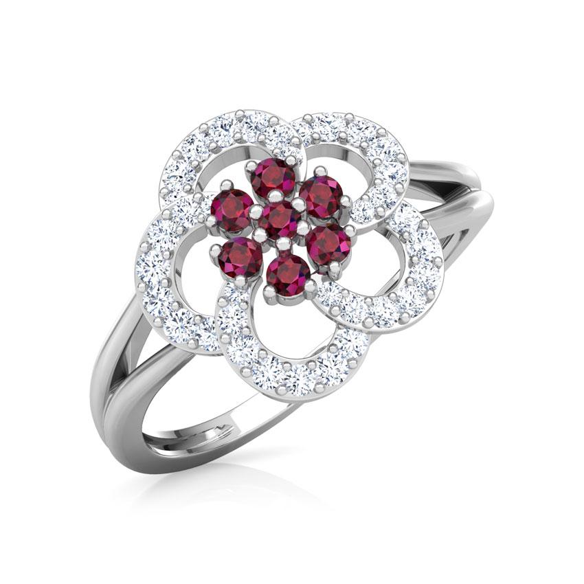 Diamond,Gemstone Rings 18 Karat White Gold Saanvi Vibrant Diamond Ring