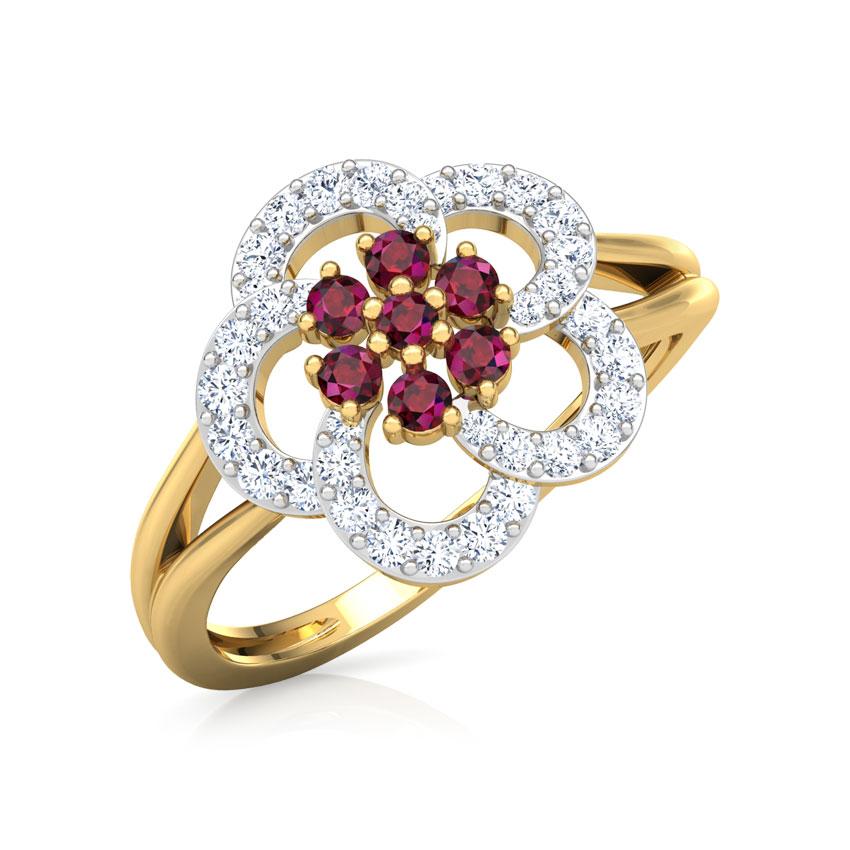 Diamond,Gemstone Rings 18 Karat Yellow Gold Saanvi Vibrant Diamond Ring