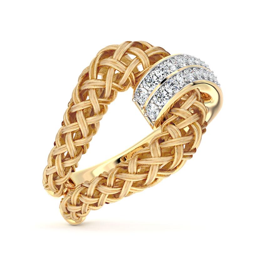Diamond Rings 18 Karat Yellow Gold Contemporary Twill Diamond Ring