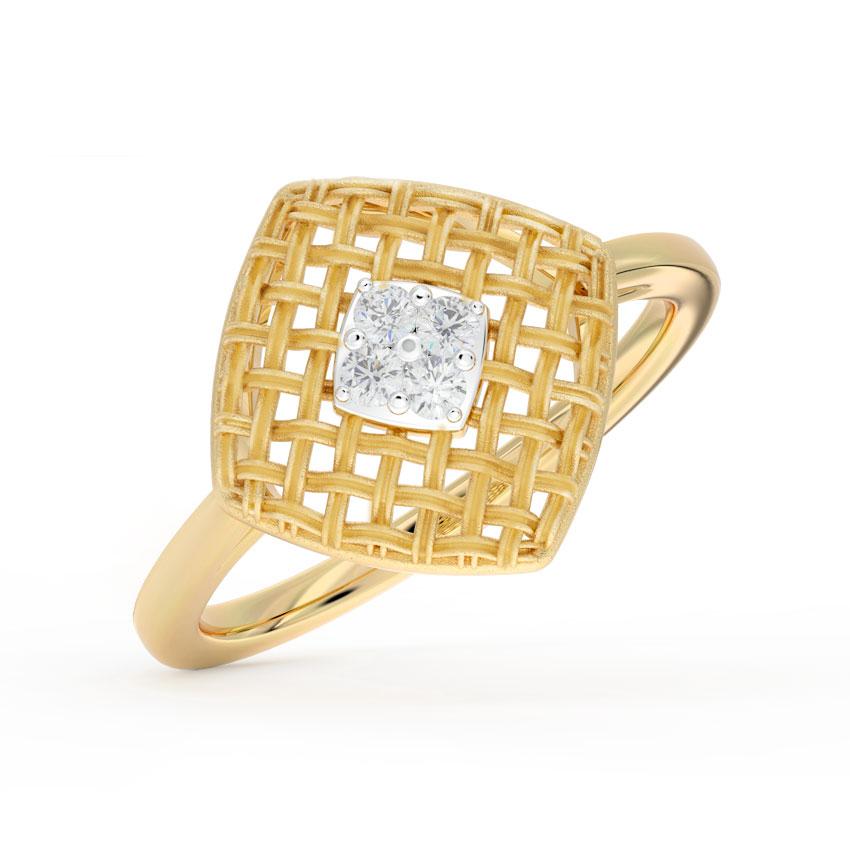 Checkered Twill Stud Ring