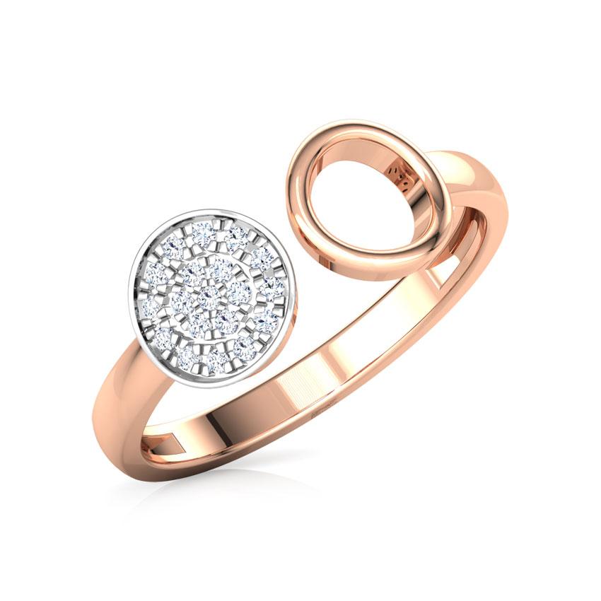 Diamond Rings 14 Karat Rose Gold Duo Circlet Ring