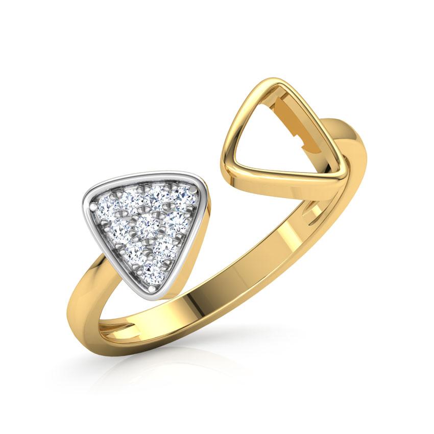Diamond Rings 14 Karat Yellow Gold Dual Trigon Diamond Ring