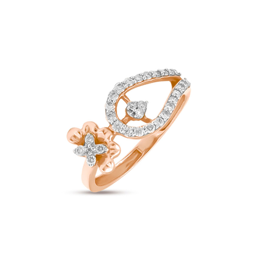 Diamond Rings 18 Karat Rose Gold Swerve Floret Diamond Ring