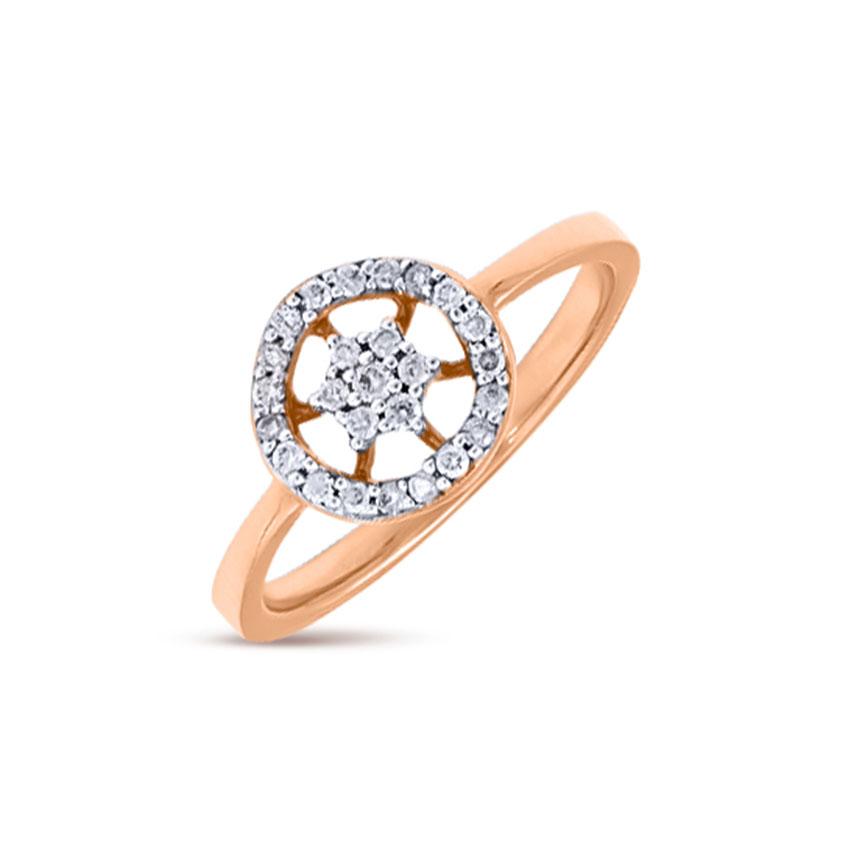 Diamond Rings 18 Karat Rose Gold Circular Flare Diamond Ring
