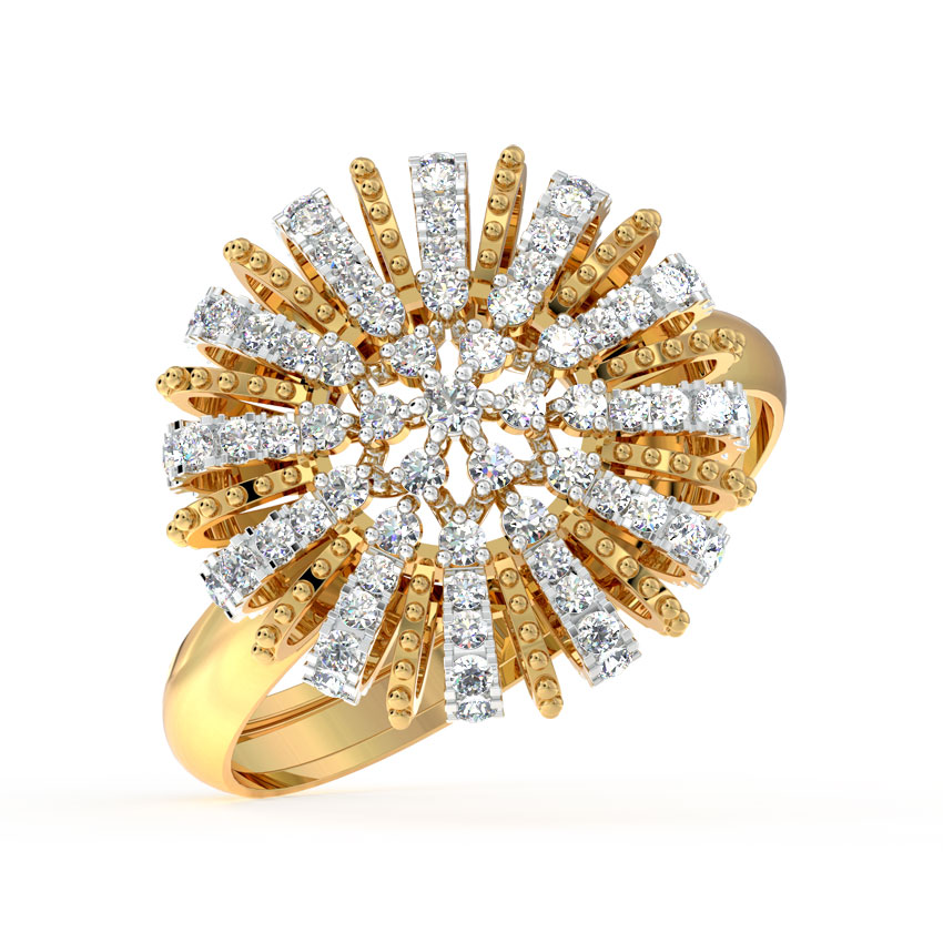 Diamond Rings 18 Karat Yellow Gold Diamond Burst Cocktail Ring