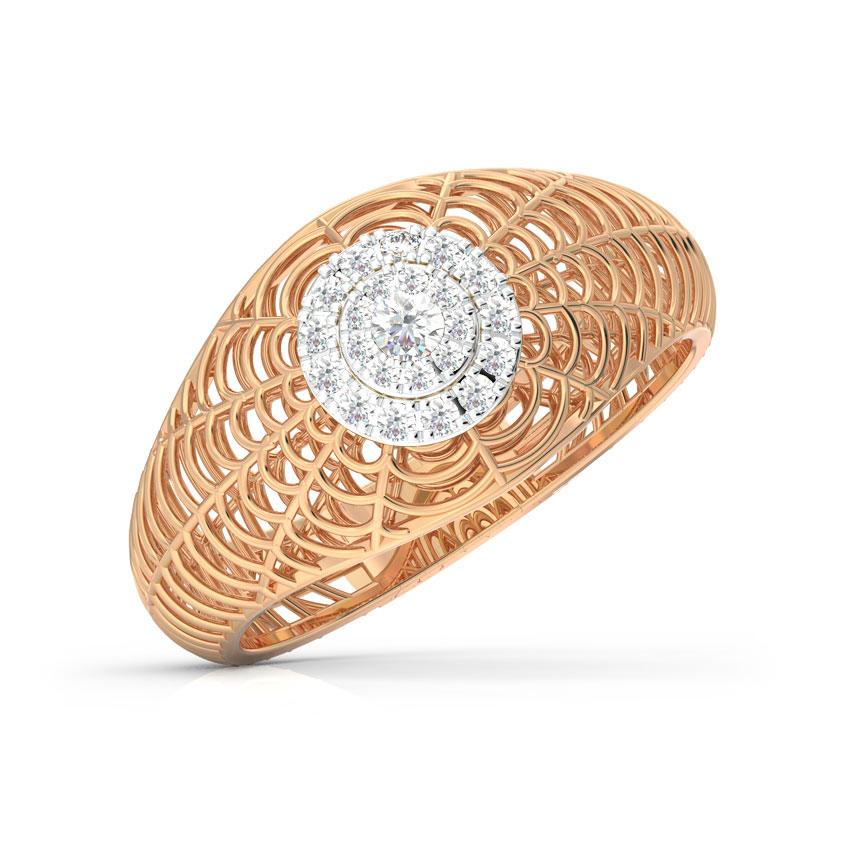 Diamond Rings 18 Karat Rose Gold Elaborate Mesh Cocktail Diamond Ring
