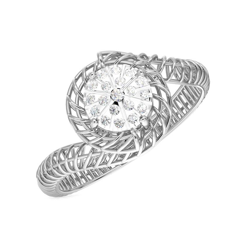 Diamond Rings 18 Karat White Gold Twine Mesh Cluster Diamond Ring