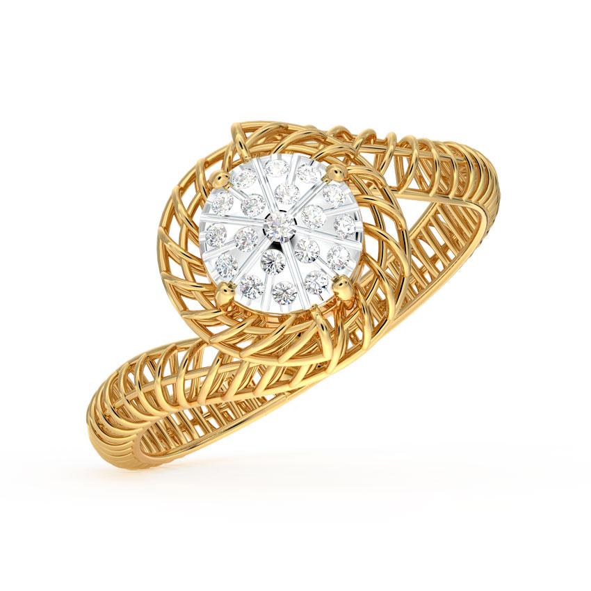 Diamond Rings 14 Karat Yellow Gold Twine Mesh Cluster Diamond Ring