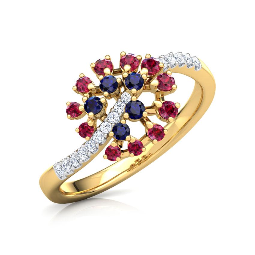 Diamond,Gemstone Rings 14 Karat Yellow Gold Mishti Vibrant Diamond Ring