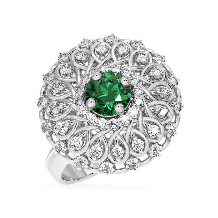Diamond,Gemstone Rings 18 Karat White Gold Ornate Cocktail Diamond Ring