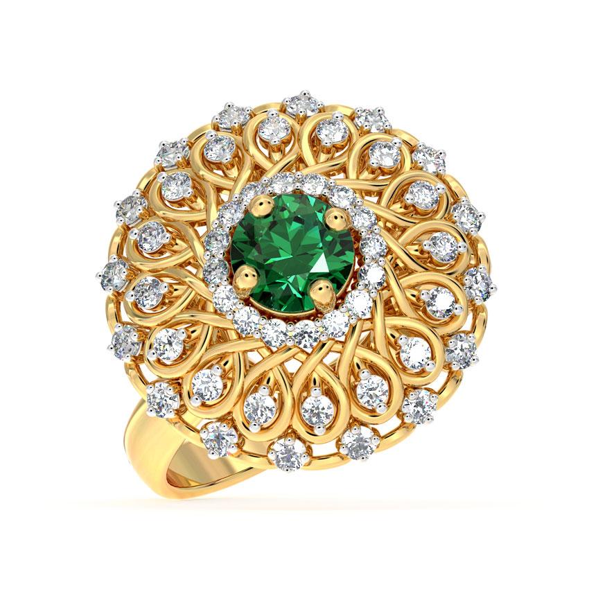 Diamond,Gemstone Rings 18 Karat Yellow Gold Ornate Cocktail Diamond Ring