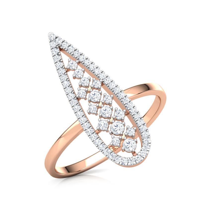 Diamond Rings 18 Karat Rose Gold Pear Lattice Diamond Ring