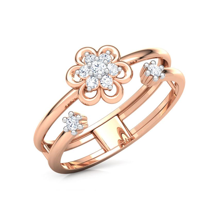 Diamond Rings 14 Karat Rose Gold Contemporary Bloom Diamond Ring